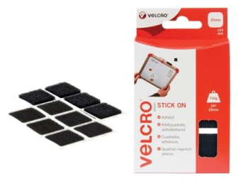 Black Velcro 25mm Squares 24pk