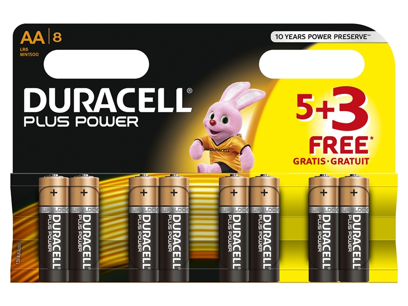 Duracell AA Battery - Multi Pack of 8 (5+3)