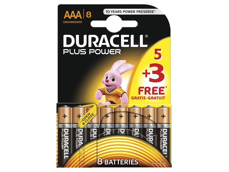 Duracell AAA Battery - Multi Pack of 8 (5+3)